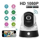 ANNKE HD 1080P IP WiFi Cámara de vigilancia de seguridad(H.264,2.0MP,2 Vías de Audio,soporta IR CUT,detección de movimiento,visión nocturna de infrarrojos Visualización remoto,compatible con iOS y Android)-Blanco y Negro