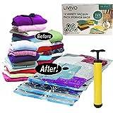 FiNeWaY 12Premium variedad al vacío bolsas de almacenamiento ahorro de espacio ropa ropa de cama con pump- 3pequeños/3medio/3/3grandes Jumbo–vacío bags-can reducir el volumen de sus artículos por hasta 75%