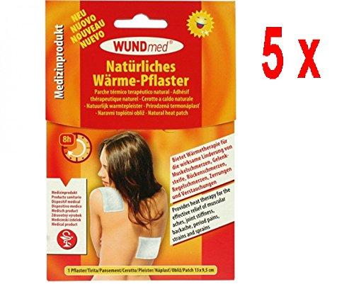 5 x Wundmed Wärmepflaster, Hypoallergen Wärmetherapie Pflaster - 1 Stück (13 x 9,5 cm)