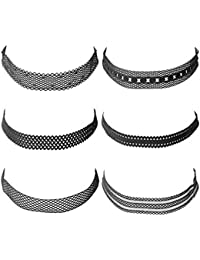 Hexawata Gothic 90s Black Lace Velvet Elastic Henna Tattoo Lace Choker Necklace Set Of 6