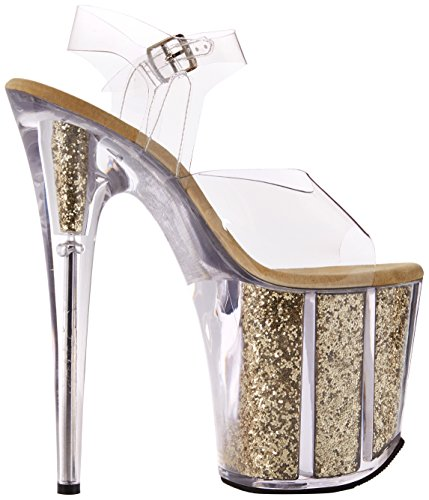 Pleaser Damen Flamingo-808g Offene Sandalen Transparent (Clr/Gold Glitter)