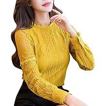 1d67faf24c0b Bekleidung Longra❤ ❤ Longra Damen Bluse Spitzenbluse Elegant Lace Blusen  Spitze Langarmshirt OL