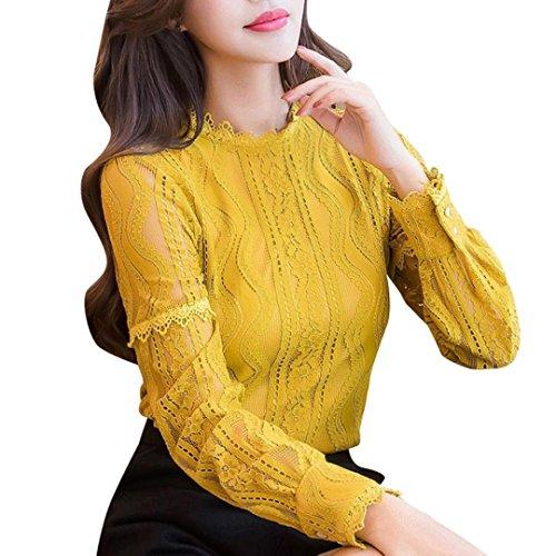 Longra Damen Bluse Spitzenbluse Elegant Lace Blusen Spitze Langarmshirt OL Business Bluse Party T-Shirt Tops Damen Rundhals Spitzenshirt Hemdbluse Rüschenbluse Blusenshirt (S, Yellow)
