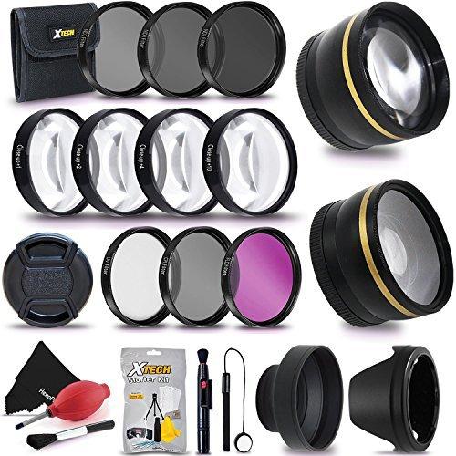 72mm Professionelle Objektiv & Filter Zubehör Bundle Kit für DSLR-Kameras–Beinhaltet: 72mm Weitwinkel & Tele-Objektiven, Filter (UV, FLD, CPL, Nd, Close up Macro) Lens Cap + Reinigungsset