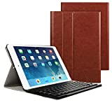 "Tastiera Blutooth Custodia Compatibile con iPad 2017/8 9.7"", iPad Pro 2017 9.7"", iPad Air 1, iPad Air 2 QWERTY italiano, PU Pelle Custodia Pieghevole Professionale, Marrone"