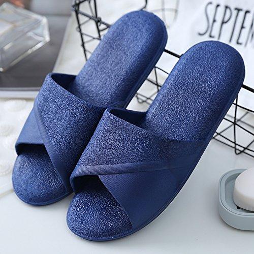 DogHaccd pantofole,I bagni sono freschi in estate donna sandali ciabattine stare a casa durante il periodo estivo e la vasca da bagno le coppie maschio piscina incantevole e raffreddare le pantofole Blu scuro2