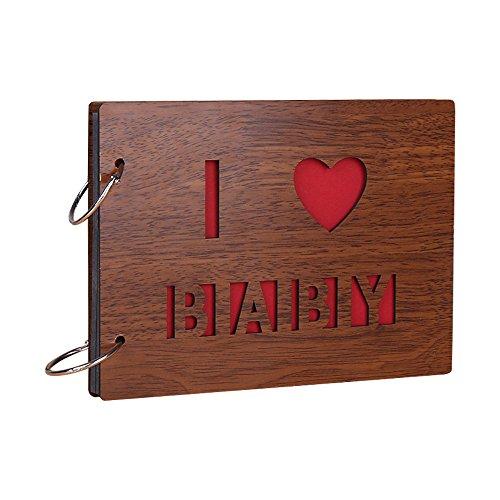 Jia HU vintage Wood DIY Autocollant Photo Album photo anniversaire de mariage Scrapbooking albums de stockage de mémoire livre Cadeau I Love Baby