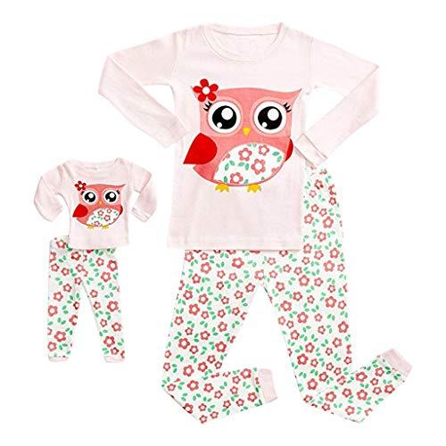 Zweiteiliger Anzug Puppe Mädchen Pyjamas Frühling Langärmelige Freizeitkleidung Baby Cartoon Tops Lang Hosen Familie Nachtwäsche Passende Bekleidungssets ()