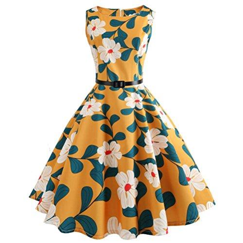ITISME Damen Ärmelloses Beiläufiges Strandkleid Sommerkleid High Waist Lang Kleid Partykleid (XL,...
