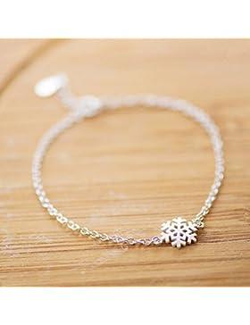 WINOMO Schneeflocke Charm Stretch Armband Geschenk Elegant Silberne Hand Weihnachtsdekoration
