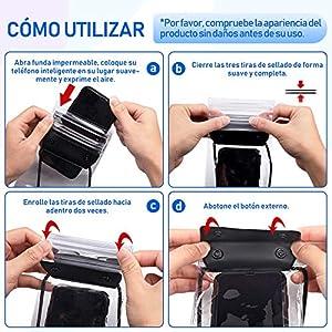 Funda Impermeable Móvil, Zttopo 2 piezas Bolsa Impermeable Universal IPX8 con Tres Tiras Sellado Protección Impermeable para Todos Dispositivos Hasta 6.5 Pulgadas Pantalla Táctil