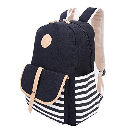Striped Canvas School Rucksack Leichte Nette Laptop Tasche Schulter Rucksack Daypack für Teen Junge Mädchen - Schwarz -