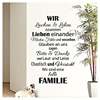 "Wandaro W3301""Wir sind eine Familie"" wall sticker black, 58 x 90 cm (English language not guaranteed)"