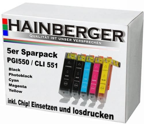 5 Hainberger XXL Patronen für Canon Pixma IP7250 MG5450 MG6350 MX725 MX925 PGI-550 CLI-551