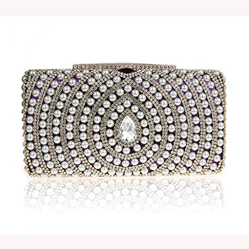 Le nuove borse di diamante della moda perline pochette sposa sacchetto di banchetto borsa da sera ( Colore : Silver ) Viola