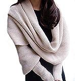 Butterme Moda Inverno Caldo Solido di Colore lavorata a Maglia Sciarpa dell'involucro Crochet Spesso Scialle del Capo con il Manicotto per le Donne e Gli Uomini-Beige