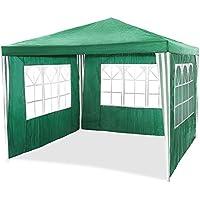 HG Carpa, pabellón , tienda de campaña con cúpula , material de polietileno, tubos de acero, 6 paredes laterales y 2 entradas, resistente al agua, Incluye 6 laterales extraíbles, 3x4m color verde