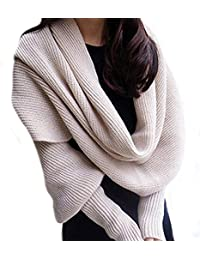 6966f96f5b5c Butterme Automne Hiver couleur unie tricoté écharpe châle avec manches ...