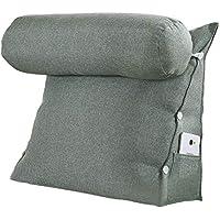 VERCART Rückenkissen Nackenrolle Wedge Pillow tv Kissen für Sofa Bett Leinen Graue Grün 60cm