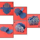BUONDAC 50stk Bonboniere & 50stk Satinbänder Gastgeschenk Hochzeit Taufe Gastgeschenke Box Geschenkbox klein für Süßigkeiten Geschenkschachtel Pralinenschachtel leer (Blau) - 3