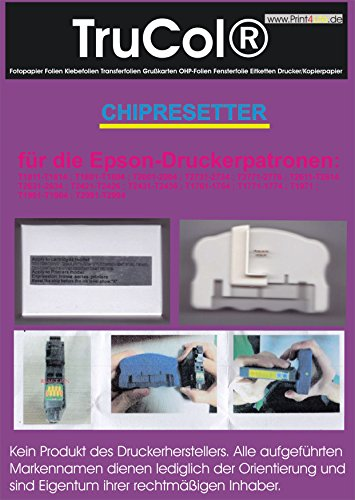 Chip Resetter für Epson Expression Home XP Serie für folgende Patronennummern : T1811-T1814 ; T1801-T1804 ; T2001-2004 ; T2731-2734 ; T2771-2776 ; T2611-T2614 T2631-2634 ; T2421-T2426 ; T2431-T2436 ; T1761-1764 ; T1771-1774 ; T1971 ; T1961-T1964 ; T2991-T2994