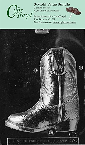 CybrTrayd K075B-3BUNDLE 3D Cowboy Boot-Piece 2 Chocolate Candy Mold with Exclusive Copyrighted 3D Chocolate Molding Instructions by CybrTrayd (Candy Boot Mold)