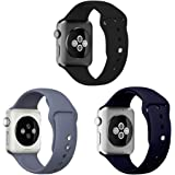 Sounce Compatible for Watch Band 42mm 44mm Adjustable Wristband Silicone Loop for Watch Series 6/5/4/3/2/1, SE (Set of 3)