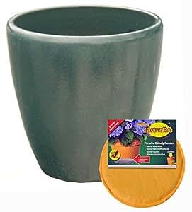 Spar Set: Keramik Pflanz-Topf mit Flower-Pad Drainage Blumen-Kübel frost-sicher rund Ø 40 x 40 cm Farbe Effekt-Grün Form 029.040.66 für Außen und Innen-Bereich