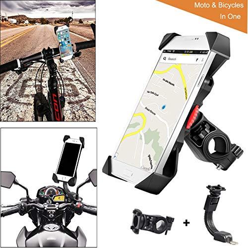 ZOORE Supporto Manubrio Motocicletta per Bicicletta Ciclismo con One Pulsante Rilascio Moto Ruotabile a 360°Supporto per iPhone,...