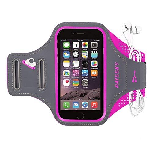 HAISSKY Schweißfest Sport Armband Universell Handyhülle iPhone,Joggen Radsport Fitness Arm Tasche -Mit Schlüsselhalter, Kabelfach,Kartenhalter,für iPhone 8/7/6/6S/SE,Galaxy S7/S6/S5 bis 5.2 Zoll (Iphone Tasche Mit Armband, 6)