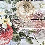 Tela por metros de loneta resinada - Mantelería antimanchas - 140 cm ancho - Largo a elección de 50 en 50 cm | Mariposas y flores