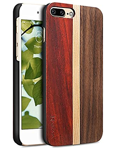 iPhone 7 Plus coque, Vena [NEU] Genuine Bois Plaque arrière Hybride Cas Couverture pour Apple iPhone 7 Plus (5.5