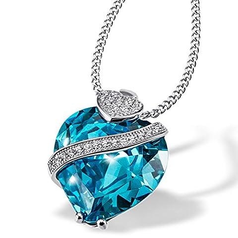 Goldmaid Damen-Kette blau Herz-Anhänger 925 Sterlingsilber aquamarin farbiger Zirkonia im Brillantschliff Herzkette