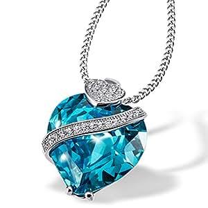 Goldmaid Damen-Kette mit blauem Anhänger Herz 925 Sterlingsilber rhodiniert aquamarinfarbener Zirkonia Brillantschliff