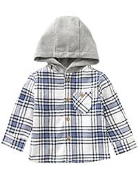 MOMOLAND Baby Boys Infant Plaid Flannel Shirt Hoodies (3-6M, Blue and White)