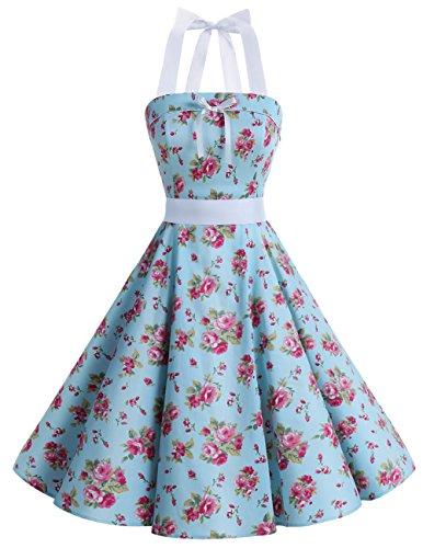 Dresstells Version10.0 Vintage 1950's Audrey Hepburn pin-up robe de soirée cocktail style halter années 50 à pois, Small Blue Flower L