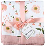 Floral Baby Blanket - 2 Layers Bamboo Muslin Baby Swaddle Blanket, Oversized 47 inches x 47 inches Muslin Stroller Blanket, Perfect Baby Shower Gifts for Baby Girl (Floral)