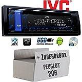 Peugeot 206 - JVC KD-R481E - CD | MP3 | USB | Android | Autoradio - Einbauset