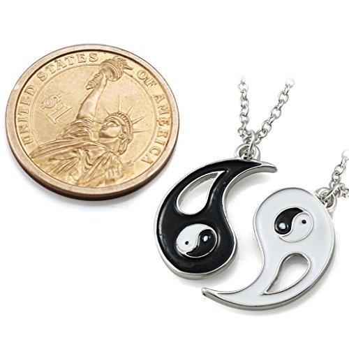 Jstyle Schmuck 2 Halskette Edelstahl Tai Chi Anhänger für beste Freunde Freundschaftsketten mit Metalllegierung Yin und Yang Partner-Anhänger ein Paar Männer Damen
