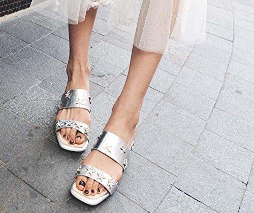 Scarpe per donne, oro di mulo Gold Star Pantofole in pelle Sandali casual per le donne Silver
