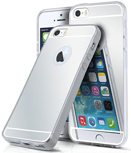 Spiegel iPhone 5S Hülle Silber Silikon [OneFlow Mirror Back-Cover] TPU Schutzhülle Dünn Handy-Hülle für iPhone 5/5S/SE Case Ultra-Slim Silikonhülle Rückseite SILBER