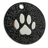 Chapa identificativa para perros, de 25mm, diseño con purpurina y figura de pata (personalizable)