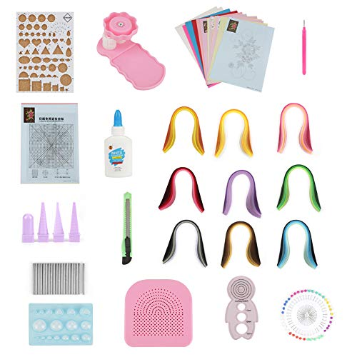 Quilling Tool Kit komplettes Quilling Papierset Verschiedene Farben mit 13 Quilling Tools und 9 Farben 900 Streifen Quilling Paper für Anfänger Fortgeschrittene Quiller Kinder und Erwachsene -