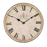 Orologio da parete anticato vintage con scritta 'Café des Marguerites', in stile shabby chic, color panna, 34 cm (lingua italiana non garantita)