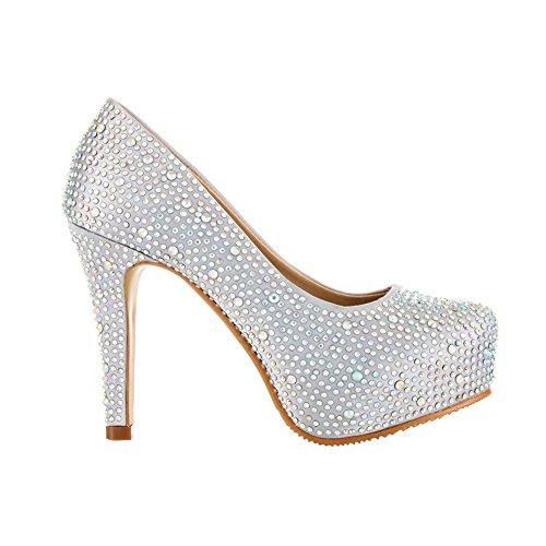 VELCANS Chaussures Mode Strass Talons et Plateforme Escarpins de Mariage, Mariée, Soirée, Parti et Prom Femmes Argent