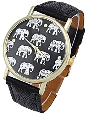 Souarts Damen Vergoldet Farbe Schwarz Elefant Armbanduhr Armreif Uhr mit Batterie Zifferblatt