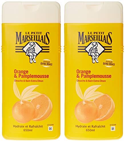 Le Petit Marseillais - Douche et Bain Extra Doux - Orange Pamplemousse Flacon - 650 ml - Lot de 2