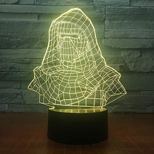 darth vader casco luce notturna 3D illusione elettrica lampada 3d LED 7 cambia colore USB tocco scrivania lampada per regalo per bambini han-7473