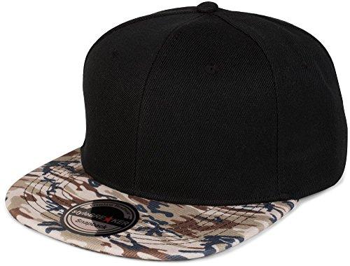 Camouflage-print-hut (styleBREAKER Snapback Cap mit Camouflage Print am Schild, Baseball Cap, verstellbar, Unisex 04023042, Farbe:Schwarz / Beige-Braun)