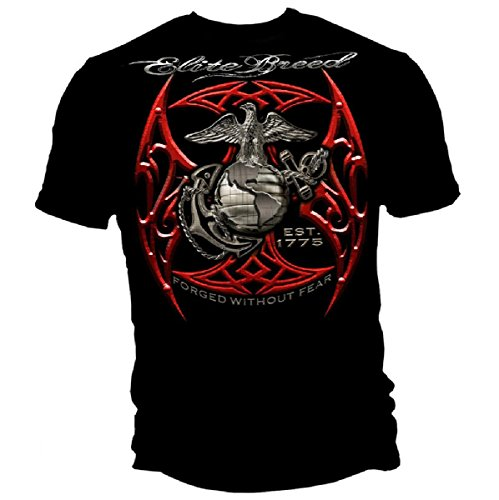 Greucy-darkMarine Corps, USMC T-Shirt Elite Breed USMC Red Blades Silver Foil Black